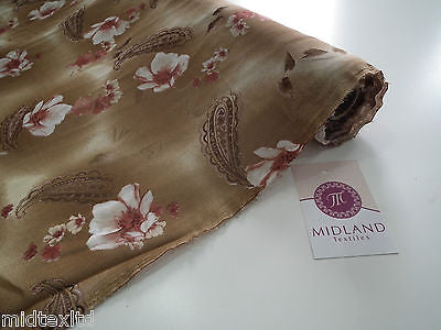 "Brown Paisley Leaf Print With Pastel Flower Georgette Chiffon 58"" Wide. M145-10 - Midland Textiles & Fabric"
