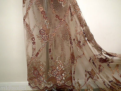 EMBROIDERY SCALLOPED FLORAL TULLE NET LACE BRIDAL DRESS FABRIC M231
