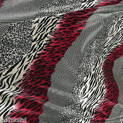 "Red Black animal print 58"" velvet velor  two way stretch fabric M16-20 Mtex - Midland Textiles & Fabric"