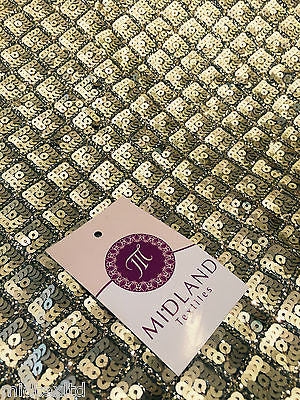 Diamond shaped antique matt gold sewn on sequins dress fabric Shiny  M78 Mtex - Midland Textiles & Fabric