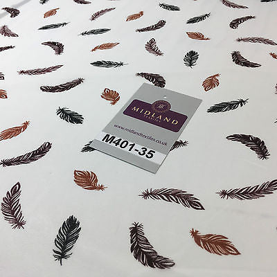 "Pearl White feather printed light chiffon goergette Fabric 58"" M401-35 Mtex"