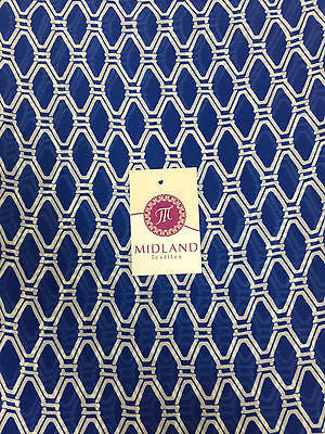 "Cobalt and white diamond geometric chiffon high street printed fabric 58"" M401-2 - Midland Textiles & Fabric"