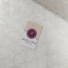 "White Dress net with intricate thread work Semi transparent 45"" Wide M186-12 - Midland Textiles & Fabric"