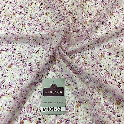 "Pink floral Ditsy Crepe Chiffon High street Printed Fabric 58"" M401-33 Mtex - Midland Textiles & Fabric"