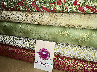 "White Merry Christmas themed 100% Cotton Patchwork & Crafting Fabric 45"" Mtex - Midland Textiles & Fabric"