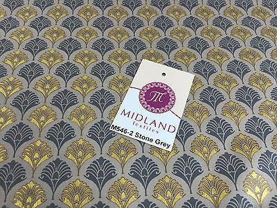 "Retro Peacock Bird Feather Flower Fan Gold Lacquered Cotton Lawn Fabric 58"" M546 - Midland Textiles & Fabric"