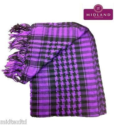 Cotton Checkered Arab Keffiyeh Shemagh Arafat Scarf Stole Neck Wrap M14 Mtex - Midland Textiles & Fabric