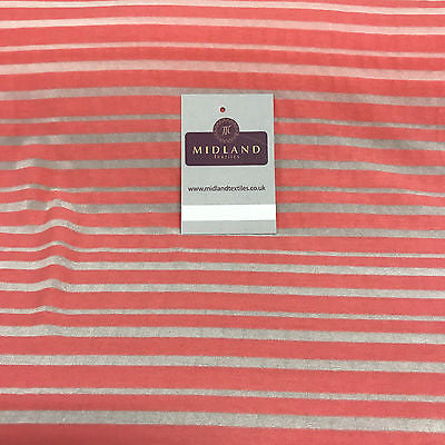 "Coral pink and Grey Polyester Burnout viscose jersey striped Fabric 58"" M720-5"