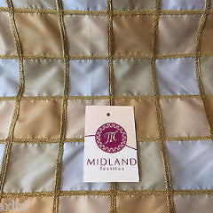 Blue and gold Patchwork taffeta with gold corded thread ideal for cushions M85 - Midland Textiles & Fabric