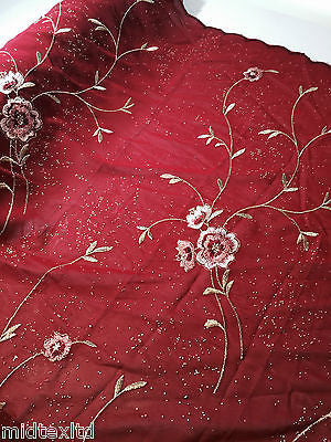 Floral Embroidery with gold thread work metallic dewdrop on georgette M320 Mtex - Midland Textiles & Fabric