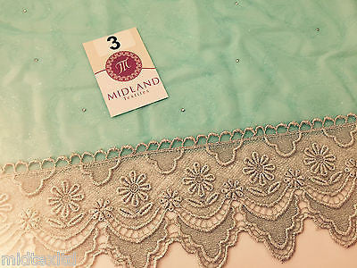 Vintage floral Uragiri scalloped edging dress fabric with clear stones M188 Mtex - Midland Textiles & Fabric