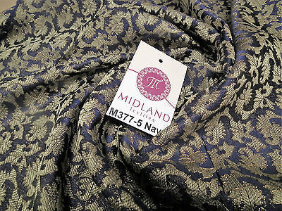 "Indian  Floral Gold Metallic faux silk banarsi Brocade 44"" Wide M377 - Midland Textiles & Fabric"