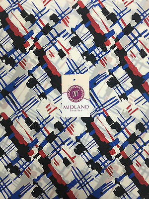 "White, red, blue and black satin chiffon twill high street printed 58"" M401-6 - Midland Textiles & Fabric"