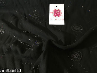 Black Viscose shiny sequin and thread design dress fabric M80-3 Mtex - Midland Textiles & Fabric