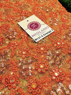 "Indian Floral Intricate sequin embroidered Tulle net dress fabric 40"" Wide M131 - Midland Textiles & Fabric"