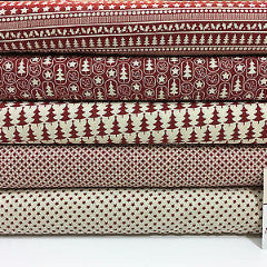 "Red Scandi 100% Cotton Christmas themed Patchwork and Crafting  Fabric 45"" Mtex - Midland Textiles & Fabric"