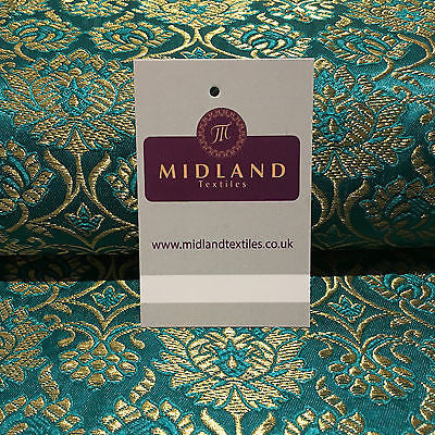 "Indian Banarsi Gold Floral Faux Silk Brocade Fabric 44 "" M711 Mtex - Midland Textiles & Fabric"