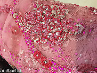 EMBROIDERY SCALLOPED FLORAL TULLE NET LACE BRIDAL DRESS FABRIC M231 - Midland Textiles & Fabric