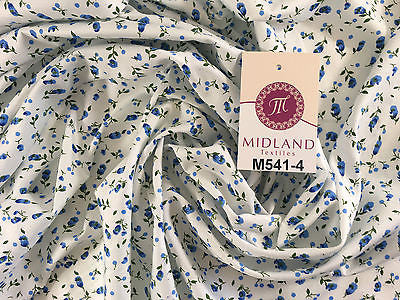 "Small Floral Print on white soft polycotton dress Fabric 45"" Wide M541 Mtex - Midland Textiles & Fabric"