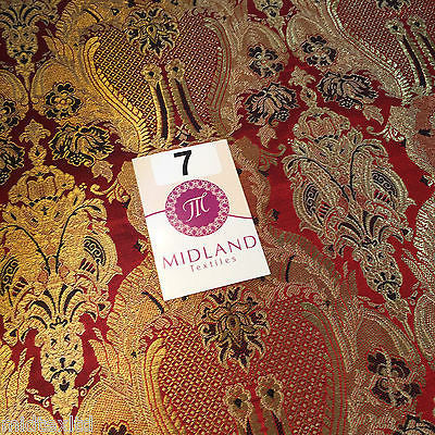 "Indian Banarsi Gold Metallic Ornamental floral brocade fabric M373 Mtex 40"" wide - Midland Textiles & Fabric"