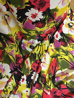 Yellow and green Bold Floral print on silky polyester peach crepe M145-29 Mtex - Midland Textiles & Fabric