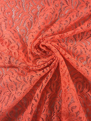 "Coral Floral Art print soft lace Semi Transparent fabric 58"" Wide M186-13 Mtex - Midland Textiles & Fabric"