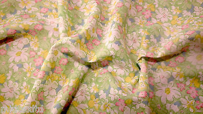 FLORAL POLYCOTTON PRINT FABRIC SMALL FLOWERS GREEN PINK BABY PINK PEACH M33 Mtex - Midland Textiles & Fabric