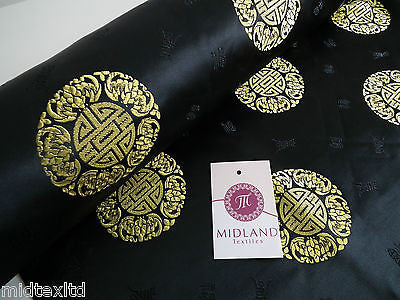 "Chinese Fortune Medallion Print Silky Satin Fabric 45"" Wide M59 - Midland Textiles & Fabric"