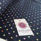 "5mm Spot Polka Dots Multi Coloured Dress Craft 100% Cotton Poplin Fabric 45"" M21 - Midland Textiles & Fabric"