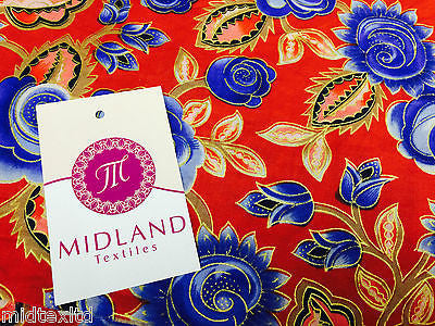 "Rose Design With Gold Foil 100% Cotton Lawn Dress fabric 58"" wide  M273 Mtex - Midland Textiles & Fabric"