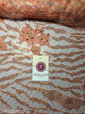 Peach floral embroidered sequins and stone embellishment mesh fabric M216 Mtex - Midland Textiles & Fabric