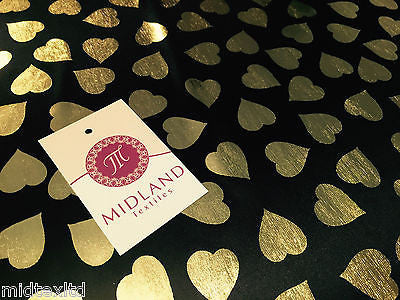 Gold Heart on black Computer Foil Printed Fabric Semi-transparent M7-2 Mtex - Midland Textiles & Fabric