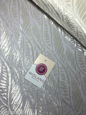 "Pearl White Leaf Abstract Burnout Pattern  Semi Transparent 55"" Wide M17-2 Mtex - Midland Textiles & Fabric"
