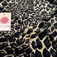 "Cream and grey animal print Spandex Velvet Two Way Stretch 58"" M16-13 Mtex"