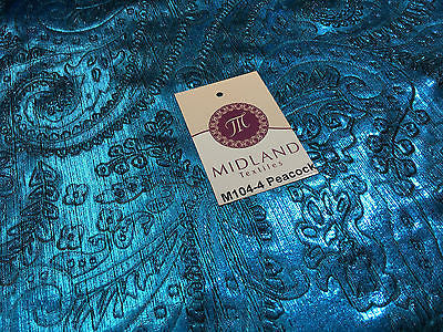 "Lame Corduroy Paisley Embossed Foil 1 way stretch Fabric 58"" wide M104 Mtex - Midland Textiles & Fabric"