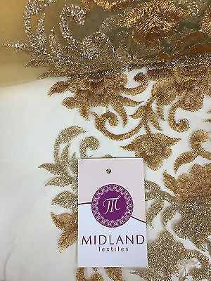 "Gold Diamond Floral Ornamental Thread Embroided Net Fabric 34"" Wide M234 Mtex - Midland Textiles & Fabric"