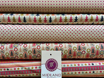 "Multi Scandi 100% Cotton Christmas themed Patchwork & Crafting  Fabric 45"" Mtex - Midland Textiles & Fabric"