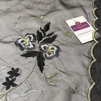 "Lightweight Floral thread Embroidery Organza dress fabric 58"" Wide M715 Mtex - Midland Textiles & Fabric"