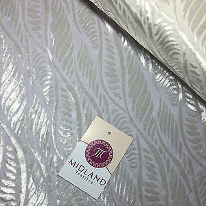 "Pearl White Leaf Abstract Burnout Pattern  Semi Transparent 55"" Wide M17-2 Mtex"