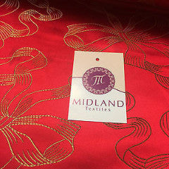 "Red and gold Ribbon and Bow jacquard Chinese brocade Fabric 45"" Wide M381 Mtex - Midland Textiles & Fabric"