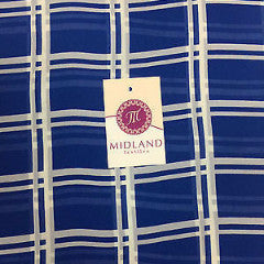 "Cobalt and off White Window pane check chiffon high street printed 58"" M401-3"