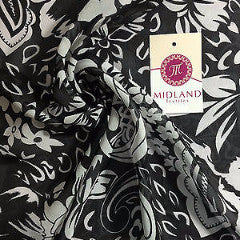 "Black and White Paisley Floral Semi transparent chiffon 44"" wide M161-19 Mtex - Midland Textiles & Fabric"