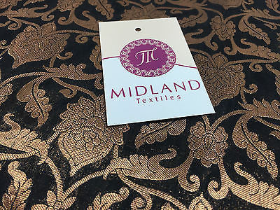 "Pure Silk Indian Banarsi Floral Woven Golden Metallic Brocade 45"" M260 Mtex - Midland Textiles & Fabric"