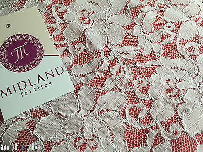 "Pearl White Floral Vintage Victorian Stretch Raschel lace 55"" Wide M186-8 Mtex - Midland Textiles & Fabric"