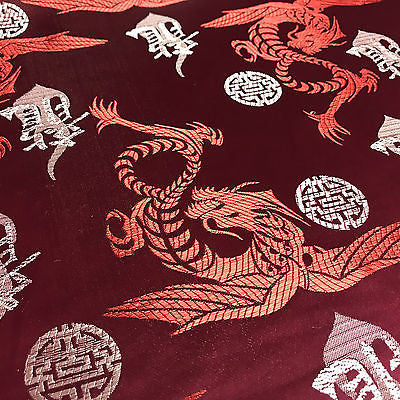 "Chinese Dragon with Chinese Words brocade Silky Satin dress fabric 45"" M395 Mtex - Midland Textiles & Fabric"