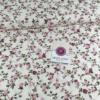 "Floral Rose Printed Shabby Chic 100% Cotton Poplin fabric 44"" Wide M544 Mtex - Midland Textiles & Fabric"