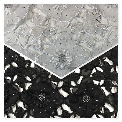 "3d Floral chiffon applique embroidery dress wedding fabric 55"" Wide  M716 Mtex - Midland Textiles & Fabric"