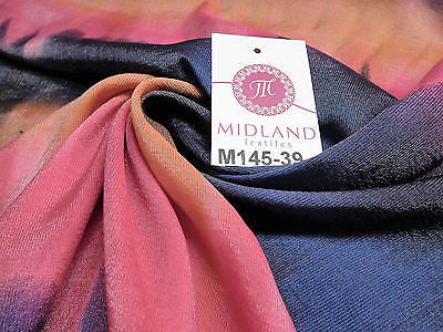 "Bold Horizontal Gradient multi coloured printed Crinkle fabric 58"" M145-39 Mtex - Midland Textiles & Fabric"