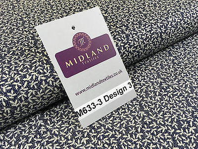 "Navy And White Floral Paste Printed 100% Cotton Poplin Craft Fabric 45"" M633 - Midland Textiles & Fabric"