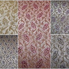 "Indian Embroided Floral Metallic Banarsi Brocade Fabric 44"" M391 Mtex"